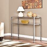 Porch & Den Modern RiNo Brighton Silver Metal and Glass Console Table