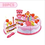 toaster oven sliding door - Birthday Cake Toy Set 38 Pcs Fruit Cake Kids Pretend Play Food Toy Play set with Knife and Fruits for Kids Children, Pink