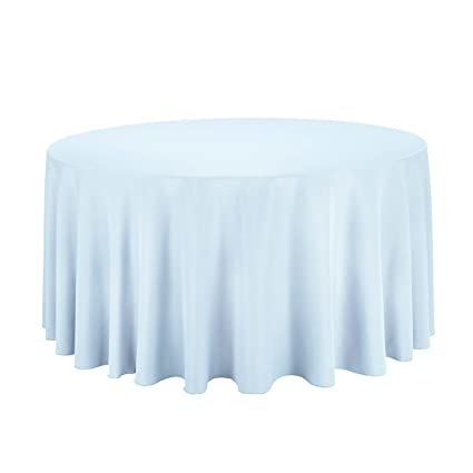 LinenTablecloth 120 Inch Round Polyester Tablecloth Baby Blue