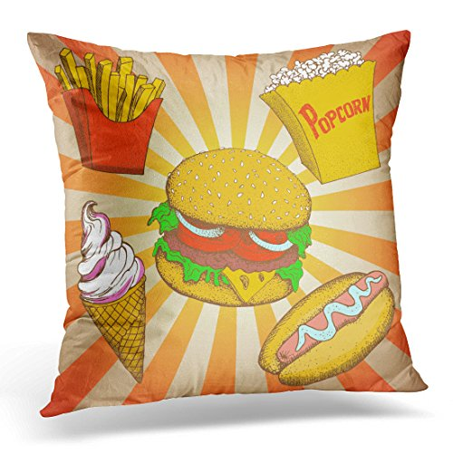 Sdamas Decorative Pillow Cover Fast Food Meals Cartoon Hamburger Hot Dog Popcorn Sandwich French Fries Potato Ice Cream Pop Style Throw Pillow Case Square Home Decor Pillowcase 16x16 Inches Dog Ice Cream Sandwiches