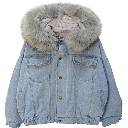 Women's Denim Jacket Fleece Lined Furry Fur Trim Hooded Windbreaker (Grey, One Size)