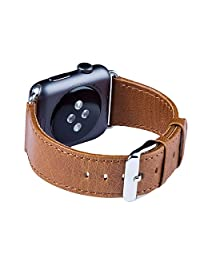 Apple Watch Strap, FUTLEX - 42mm Genuine Leather Wrist Band Bracelet Replacement Straps w/ Classic Stainless Steel Buckle (Adapters Included) for Apple Watch Series 1 & 2 - Brown Colour