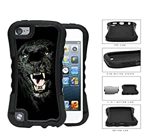 Ferocious Black Panther Close-up 2-Piece Dual Layer High Impact Rubber Silicone Case Cover Apple iPod Touch 5th Generation