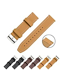 CIVO Watch Strap - Quick Release Top Genuine Grain Leather Watch Bands Smart Watches Straps 18mm 20mm 22mm (Brown Leather / White Stitching, 20mm)