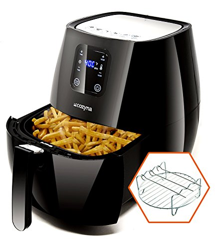 (Cozyna SAF-32 Digital Air Fryer Touchscreen (3.7QT) with 2 airfryer cookbooks and a Skewer Rack Accessory)