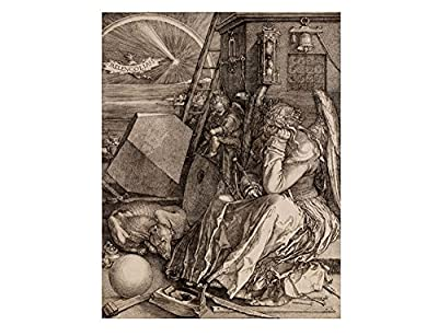 "Alonline Art - Melencolia I Albrecht Durer Framed Stretched Canvas (100% Cotton) Gallery Wrapped - Ready to Hang | 28""x35"" - 71x89cm 