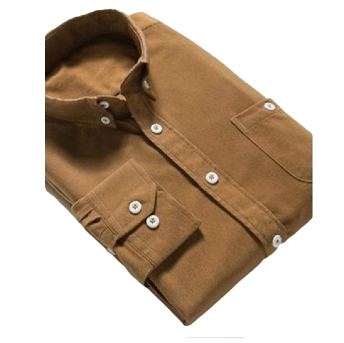 Beeatree Mens Tops Business Button-Down-Shirts Corduroy Loose Fit Shirts