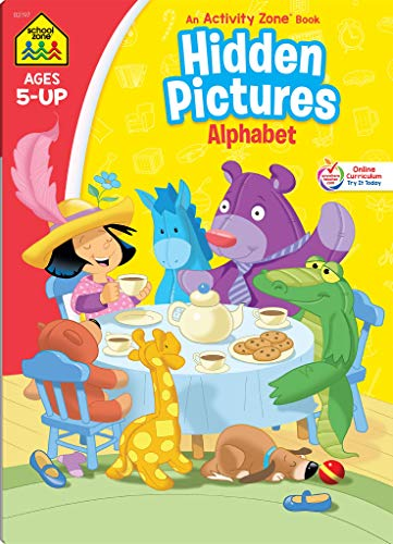 School Zone - Hidden Pictures Alphabet Workbook - Ages 5 and Up, Visual Skills, Rhyming, Attention to Detail, Letter Sounds, and More (School Zone Activity Zone® Workbook Series)
