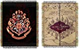 Harry Potter Combo Set 2 Throw Blankets Marauders Map & Hogwarts