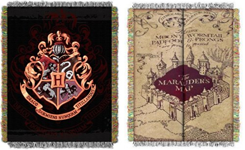 Harry Potter Marauders Map Hogwarts Crest Throw Blanket Set