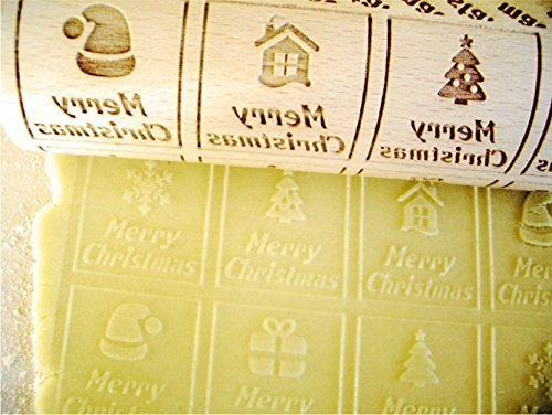 CHIRISTMAS WINDOWS Rolling pin Embossing rolling pin with Merry Christmas. Christmas gingerbread cookies. by Sun Crafts (Image #4)