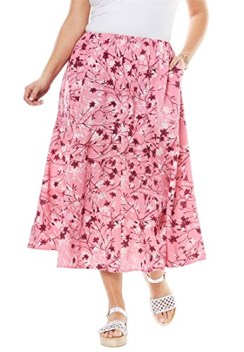 Women's Plus Size Linen Blend Maxi Skirt Spring Blossom Pink,M by Woman Within (Image #2)