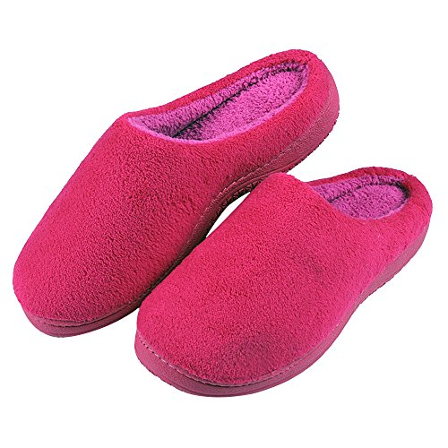 Cideros Womens & Mens Winter Warm Coral Fleece House Slippers Cozy Bedroom Shoes Footwear Memory Foam Clogs Rose Red HnKrl3