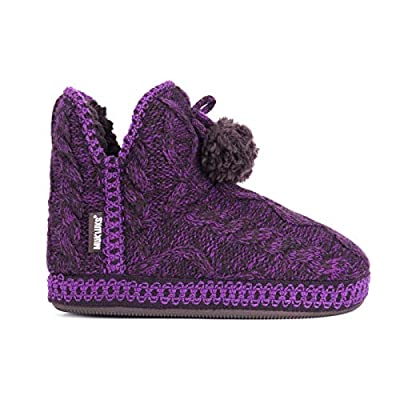 MUK LUKS Women's Amira Slipper Purple Knit Medium (7-8)   Ankle & Bootie