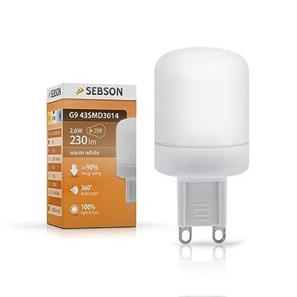 sebson - ® Bombilla G9 2.6W Led (25W Igualdad A), 230 Lumen