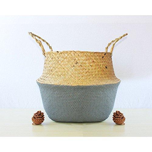 Maceta manual de hierba tejida, ratán cesta de almacenamiento, juguetes de la planta decoración del hogar