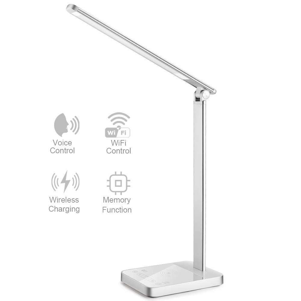 New Version Smart LED Desk Lamp with WiFi, Wireless Charger Eye Caring Desk Light 3 Color Modes 6 Brightness Levels Timer Memory Function USB Port Compatible for Alexa Echo Dot Google Home, Silver