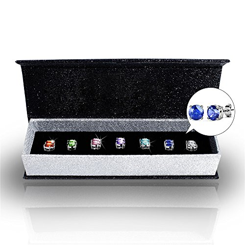 R-timer Womens Swarovski Elements Crystal Stud Earrings Set of 7 Pairs 18K White Gold Plated - Aquamarine Seal