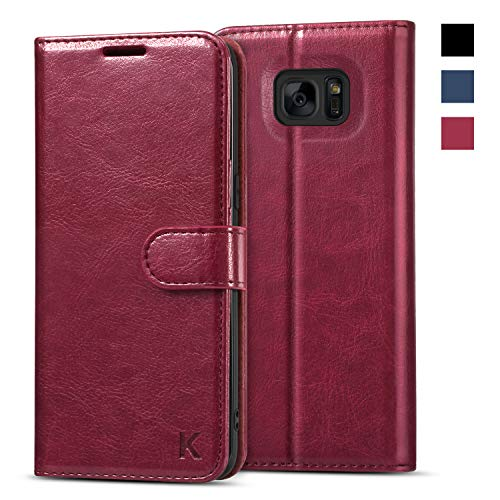KILINO Galaxy S7 Edge Wallet Case [Shock-Absorbent Bumper] [Card Slots] [Kickstand] [RFID Blocking] Leather Flip Case Compatible with Samsung Galaxy S7 Edge - Burgundy (Best S7 Edge Wallet Case)