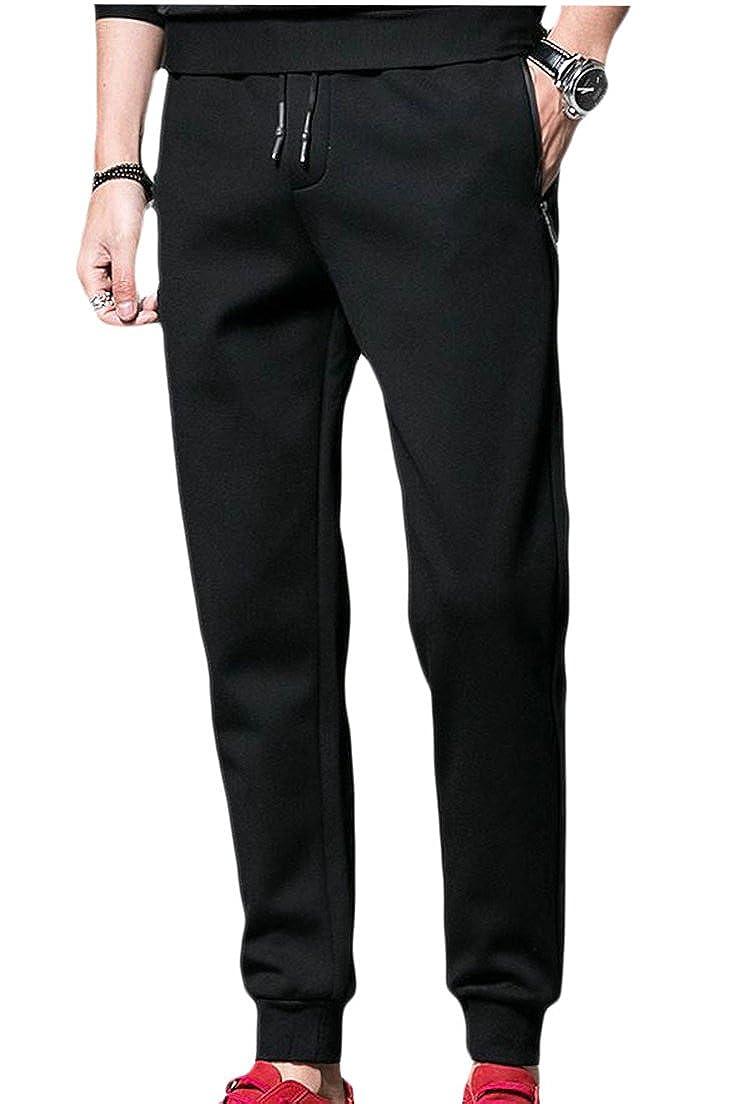 Revolutee Mens Trousers Elastic Waist Harem Athletic Pure Color Joggers Leisure Sports Pants
