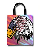 Eagle And American Flag Beach Tote Bag - Toy Tote Bag - Large Lightweight Market, Grocery & Picnic
