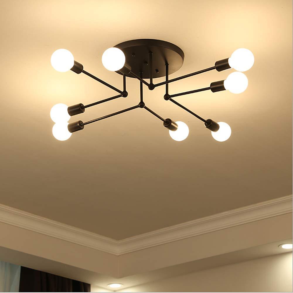 LADIQI 8 Lights Modern Semi Flush Mount Ceiling Light Metal Black Chandelier Close to Ceiling Lighting Fixture for Kitchen Bedroom Living Room