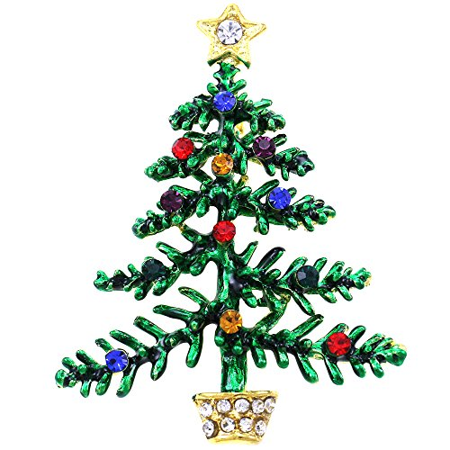 Tree Brooch Pin (SoulBreezeCollection Colorful Lights Ornaments Christmas Tree Brooch Pin Winter Fashion Jewelry)