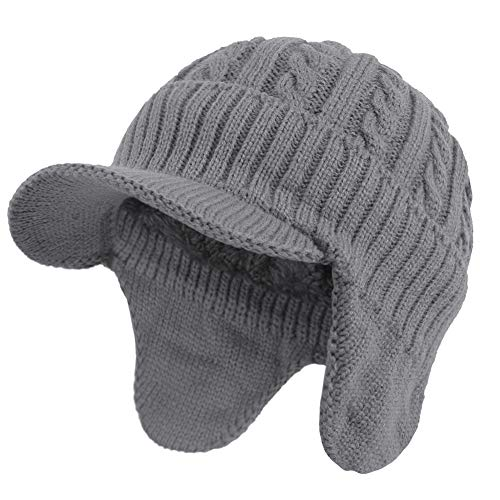 Janey&Rubbins Winter Outdoor Sports Visor Beanie with Earflaps Knit Ski Hat with Brim Fleece Lined Skull Cap (Grey)