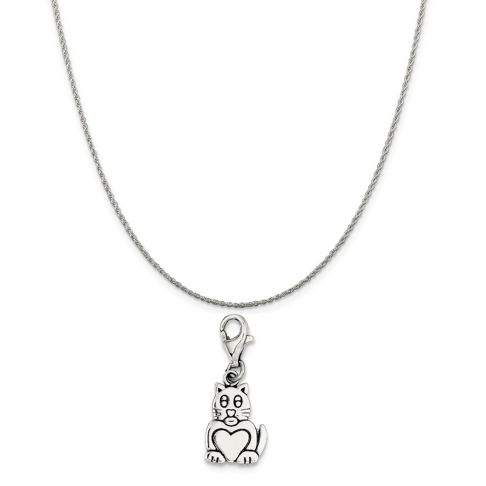 Mireval Sterling Silver Antiqued Cat Charm on a Sterling Silver Chain Necklace 16-20