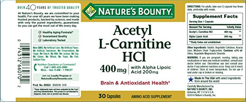 Nature's Bounty® L Carnitine 400 mg & ALA 200 mg, 30 Capsules