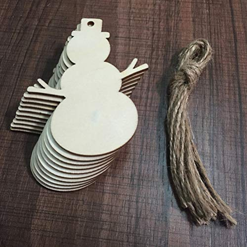 (Mercury_Group, Wood DIY Crafts - 10pcs Mixed Shaped Wooden Craft Angel Snowman Boots Christmas Tree Hanging Wooden Ornaments for Home Party Decorations - (Color:as pic))