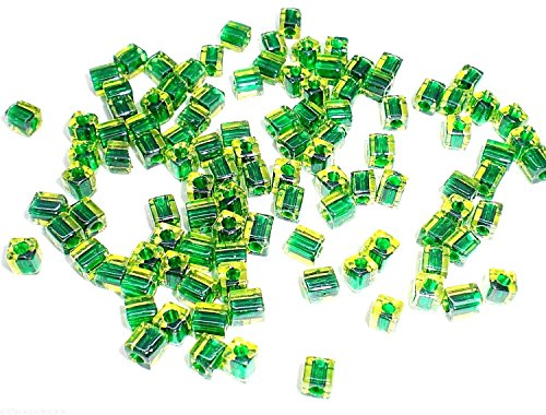 3.5-3.7mm Square Miyuki Glass Green Color-lined Kelly Green Seed Beads - 25g Package