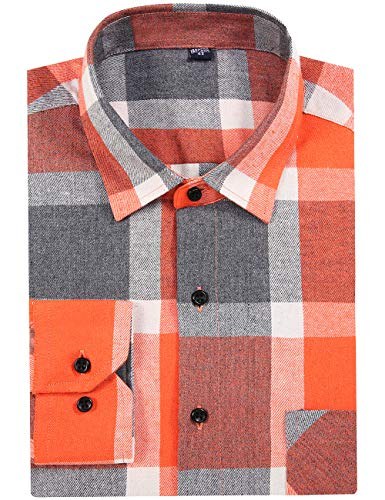 DOKKIA Men's Dress Slim Fit Buffalo Plaid Checkered Long Sleeve Flannel Shirts (Orange Buffalo Tartan, Medium)