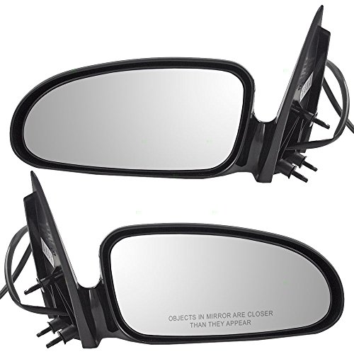 (Driver and Passenger Power Side View Mirrors Ready-to-Paint Replacement for Pontiac 25736283 25736282)