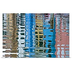 Brenda Tharp Poster Print entitled Italy, Venice, Burano. Multicolored houses reflected in water