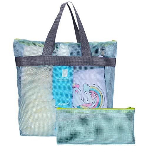 Attmu 2 Pack Shower Tote Bag Mesh Shower Bag Portable Toiletry Shower Caddy Bag for College Dorm Bathroom Accessories