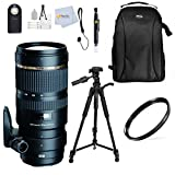Tamron SP 70-200MM F/2.8 DI VC USD Telephoto Zoom Lens - International Version (No Warranty) for Nikon D3000, D3200, DSLR Cameras Includes: 72'' Tripod + Backpack + Cap Keeper + Remote + & more …