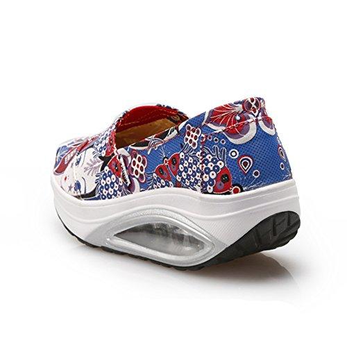 Btrada Femmes Mode Chaussures De Marche Toile Glisser Sur Coussin Dair Élasticité Respirante Chaussures De Sport Bleu Rouge