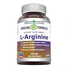 Amazing Nutrition L-Arginine 500 mg 250 Capsules Supplement - Best Amino Acid Arginine HCL Supplements for Women & Man - Promotes Circulation and Supports Cardiovascular Health