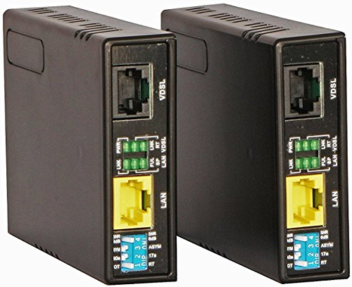 Tupavco Ethernet Extender Kit Over Phone Line or RJ45 Cable Range up to 7000 ft - 2pc Pair TEX-100 - LAN Network Extension over Twisted Copper Wire or CAT5/CAT6 -VDSL Broadband Repeater Booster Bridge