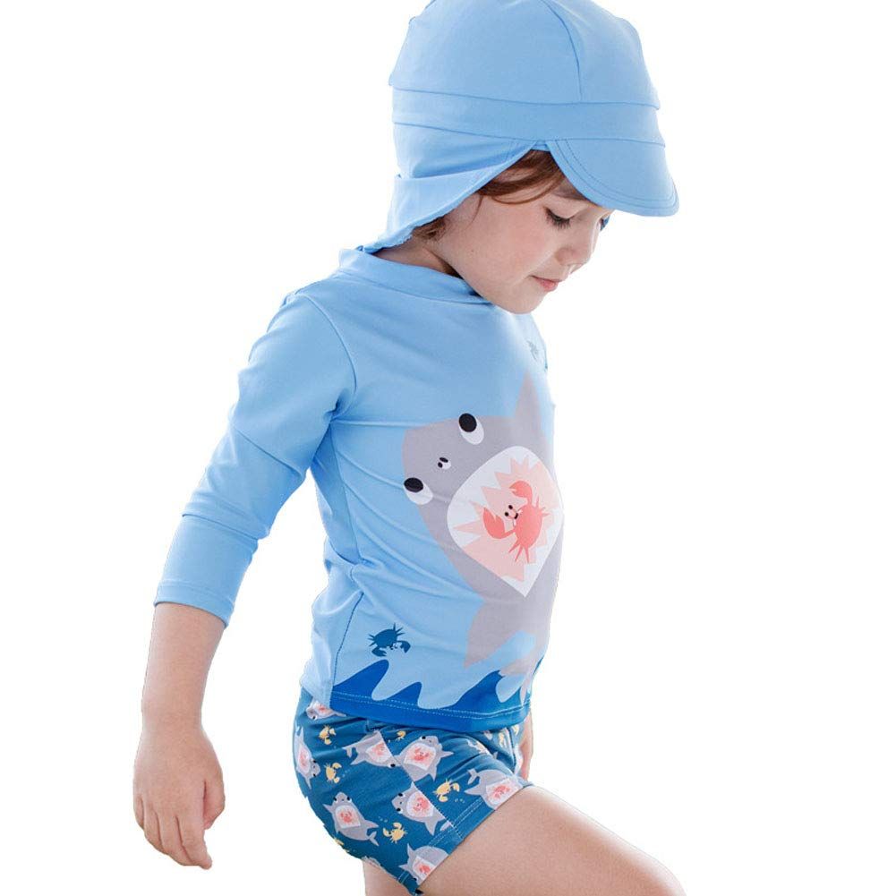 Baby Toddler Boys Two Pieces Swimsuit Set Swimwear Shark Bathing Suit Rash Guards with Hat UPF 50 FBA