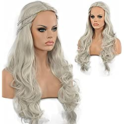 Diy-Wig Long Wave Styled Braid Gray Synthetic Cosplay Wig Halloween Party Full Head Wig for Adult Women(Grey)