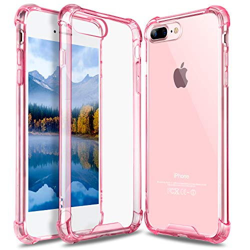 iPhone 8 Plus Case, iPhone 7 Plus Case, GeekZone Crystal Clear Case Hard Back Panel TPU Bumper Drop Protection Shock Absorption Technology Case for iPhone 7 Plus/iPhone 8 Plus - Rose