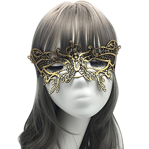 Bingirl Women Costume Elegant Golded Lace Mask for Halloween Cospaly Party Fancy Dress ()