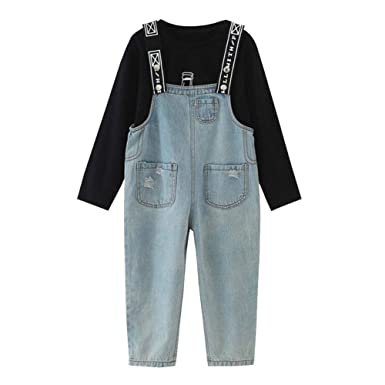 183d30e616a Onlyso Little Girls 2Pcs Long Sleeve Shirt Jeans Jumpsuit Overalls (S(4)