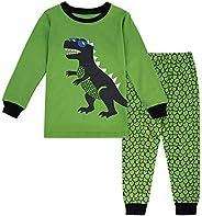 Boys' Pajama Sets, Little Kids PJS Long Sleeve Pajama Set with Cartoon Dino