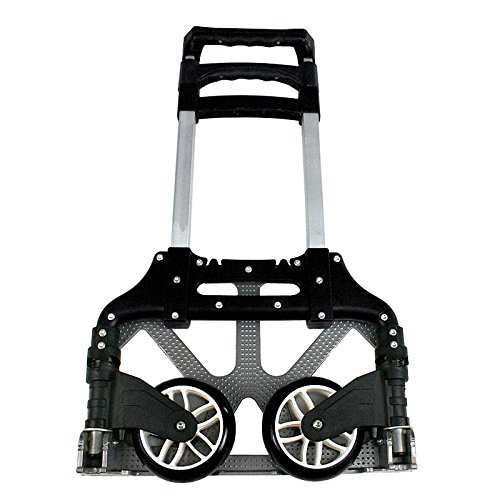 ZENY Compact Rolling Luggage Cart 170 lbs Aluminium Folding Dolly Push Hand Truck Collapsible Travel Shopping Supermarket Trolley by ZENY (Image #4)