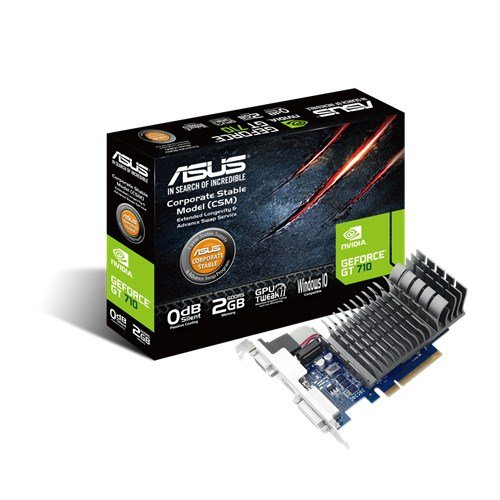 ASUS GT 710 2GB DDR3 64Bit Dual Slot, Passive Low Profile Graphics Cards, Blue/Silver 710-2-SL-CSM ()