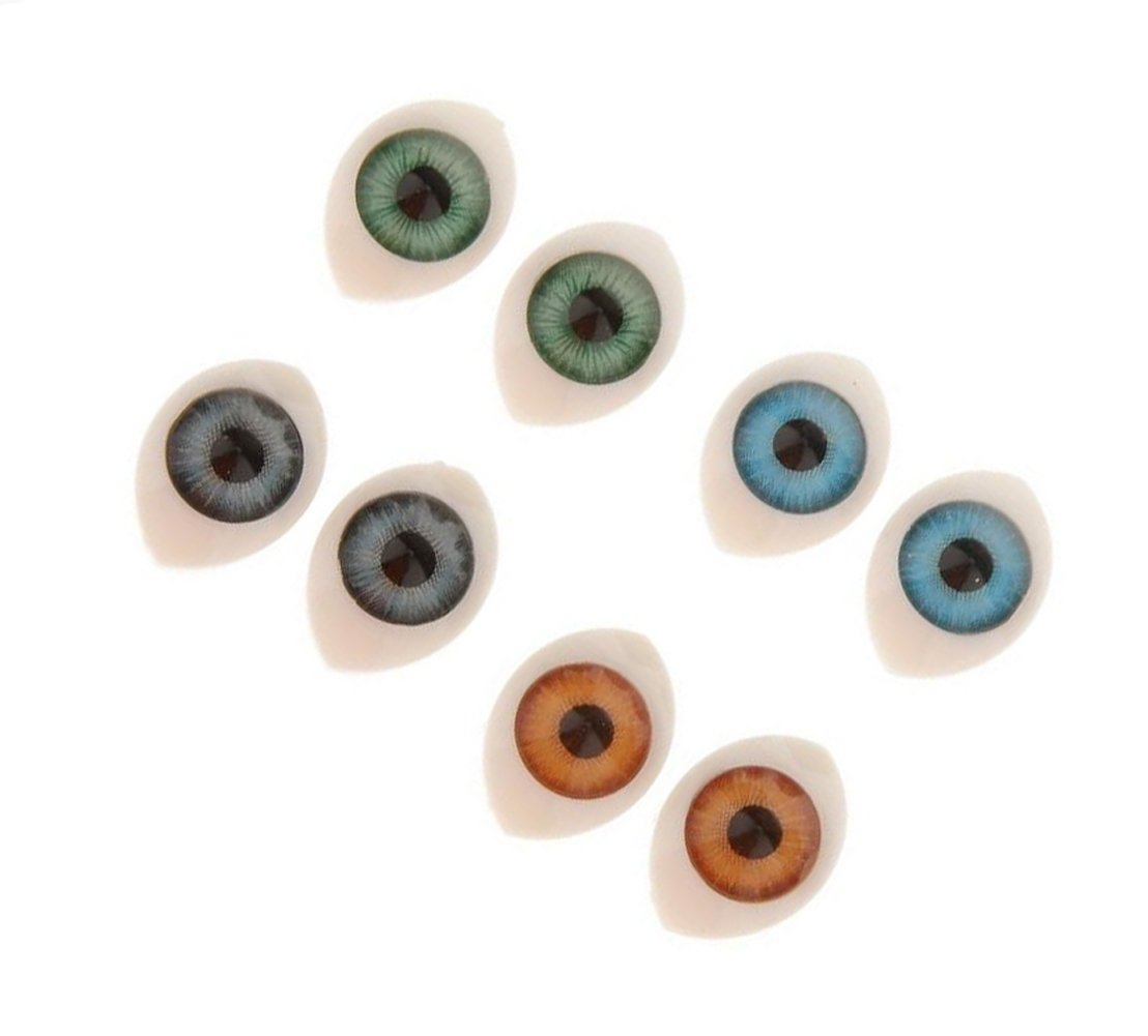 8 Pairs 4 Assorted Colors Plastic Oval Hollow Doll Making Flat Back Eyes Eyeballs for DIY Crafting Supplies Puppet Teddy Bear Doll Animal Stuffed SD Toys (10mm x 14mm) Upstore