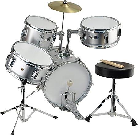 Steinbach Snare Drum 10x5 Zoll für Kinderschlagzeug silber inkl Ständer